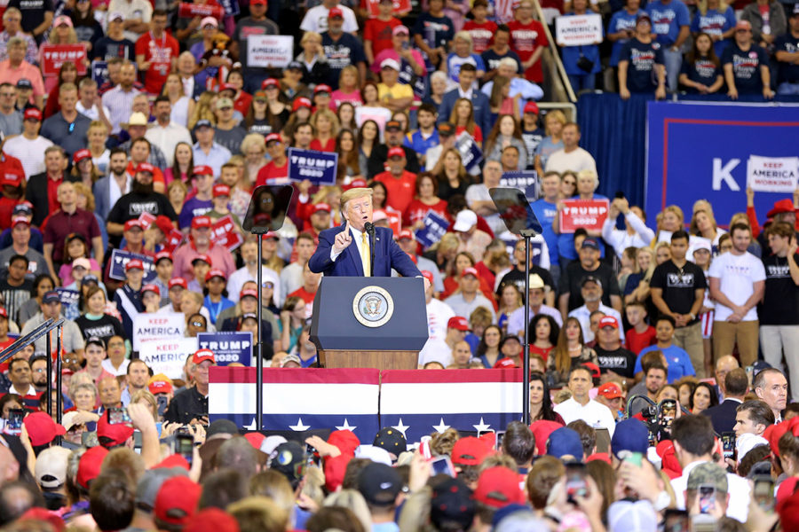 LAKE+CHARLES%2C+LOUISIANA+-+OCTOBER+11%3A+U.S.+President+Donald+Trump+speaks+during+a+campaign+rally+at+Sudduth+Coliseum+on+October+11%2C+2019+in+Lake+Charles%2C+Louisiana.+%28Photo+by+Matt+Sullivan%2FGetty+Images%29